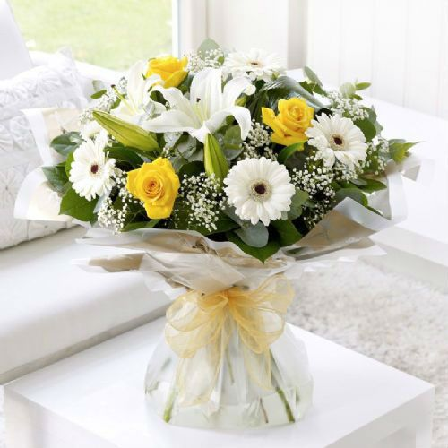 Lemon and White Sympathy Hand-tied Funeral Flowers