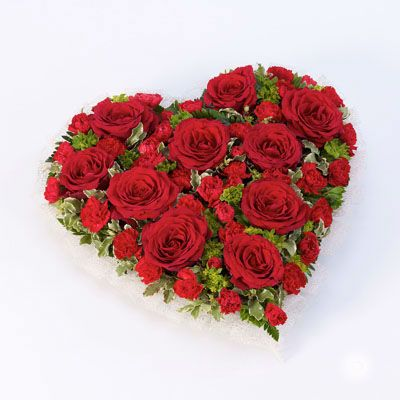 Red Rose & Carnation Heart Funeral Flowers